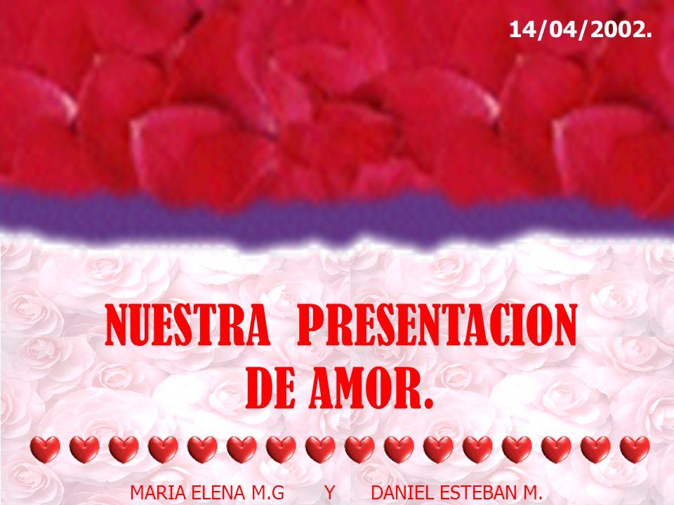 HOLA DANIEL!!!!! BIENVENIDO A NUESTRO SITIO.. A NUESTRA PRESENTACION.. A NUESTRO RINCON ROMANTICO. RECUERDAS AQUELLA PRESENTACION QUERIAMOS HACERLA PA