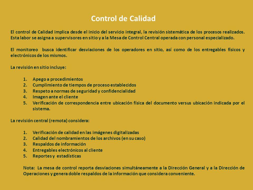 El control de Calidad implica desde el inicio del servicio integral, la revisión sistemática de los procesos realizados.