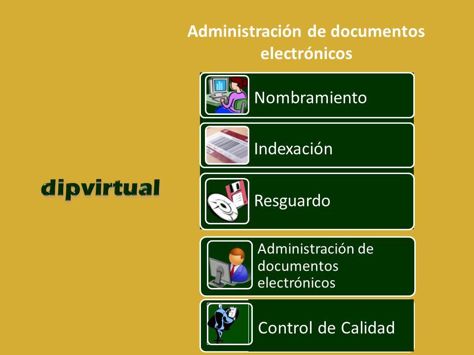 Administración de documentos electrónicos Nombramiento Indexación Resguardo Administración de documentos electrónicos Control de Calidad