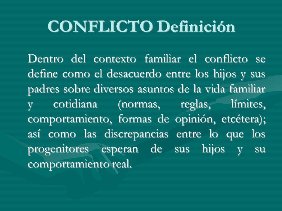 CONFLICTO Definición Dentro del contexto familiar el conflicto se define como el desacuerdo entre los hijos y sus padres sobre diversos asuntos de la