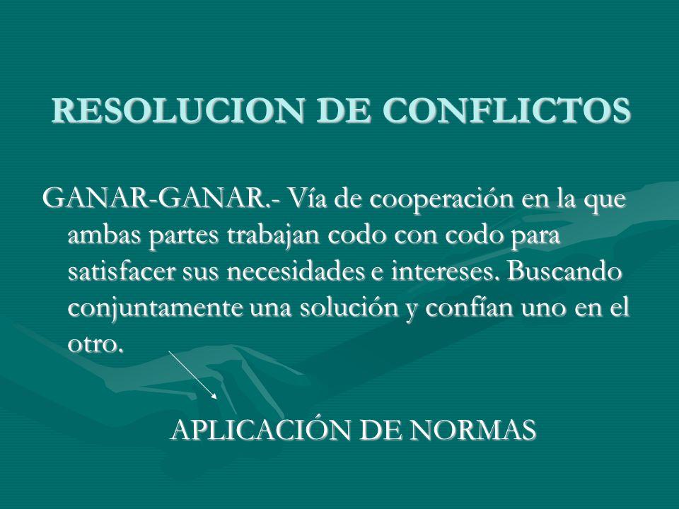 RESOLUCION DE CONFLICTOS GANAR-GANAR.- Vía de cooperación en la que ambas partes trabajan codo con codo para satisfacer sus necesidades e intereses. B