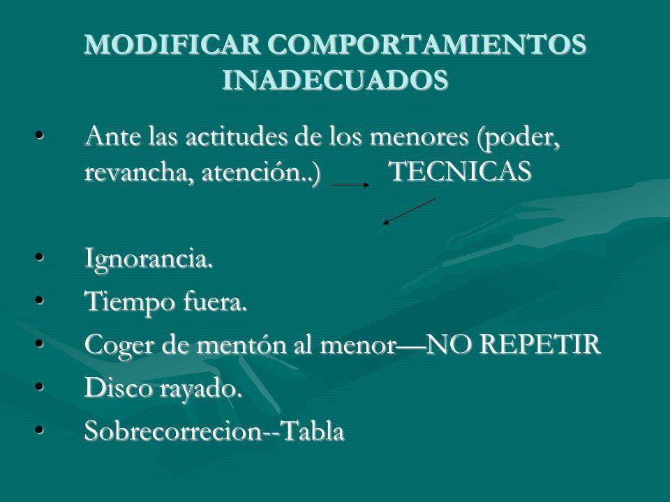 MODIFICAR COMPORTAMIENTOS INADECUADOS Ante las actitudes de los menores (poder, revancha, atención..) TECNICAS Ante las actitudes de los menores (pode