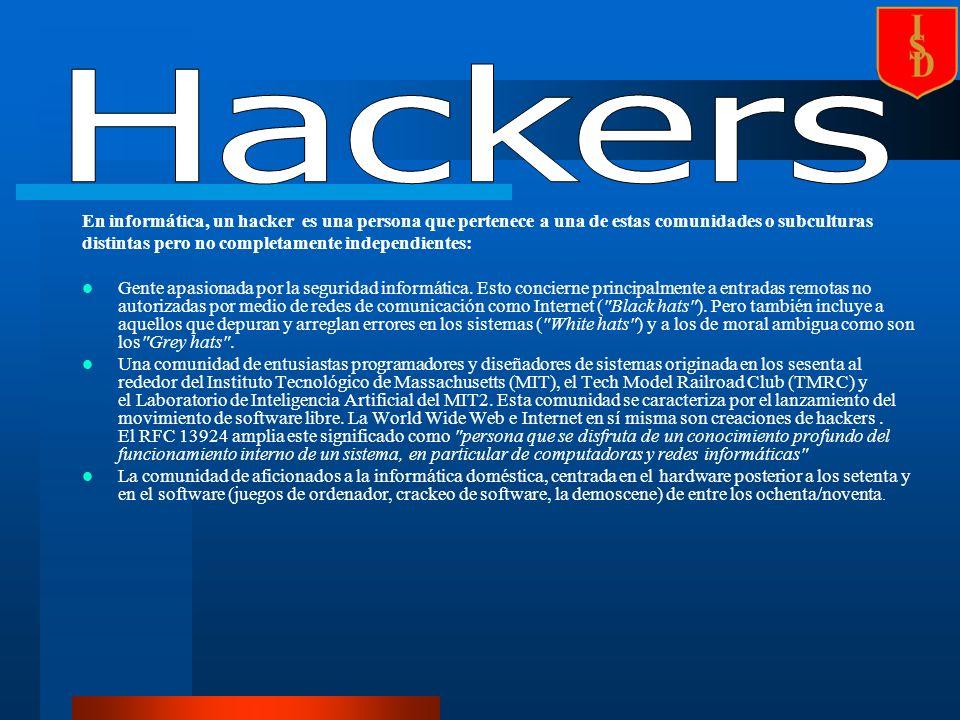 En informática, un hacker es una persona que pertenece a una de estas comunidades o subculturas distintas pero no completamente independientes: Gente apasionada por la seguridad informática.
