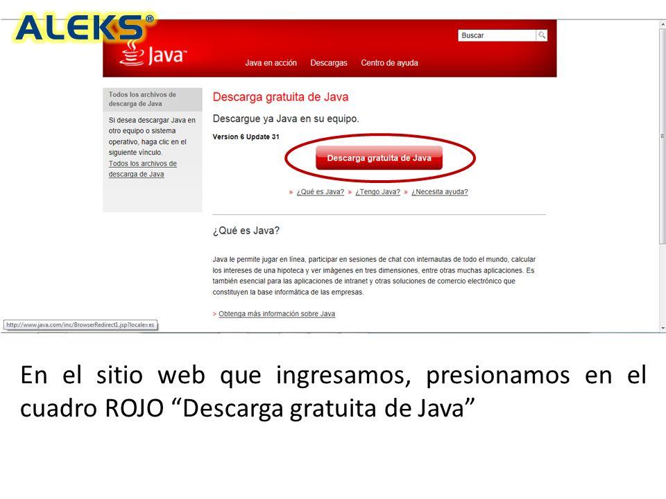 En el sitio web que ingresamos, presionamos en el cuadro ROJO Descarga gratuita de Java