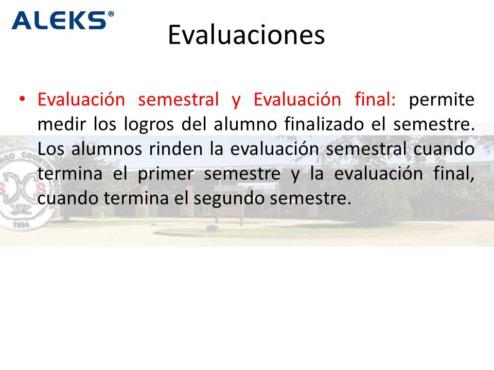 Evaluación semestral y Evaluación final: permite medir los logros del alumno finalizado el semestre.