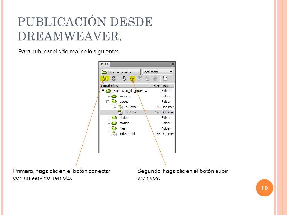 PUBLICACIÓN DESDE DREAMWEAVER.