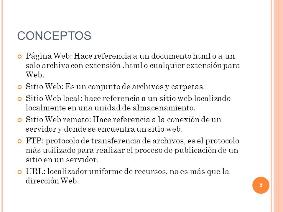 CONCEPTOS Página Web: Hace referencia a un documento html o a un solo archivo con extensión.html o cualquier extensión para Web.