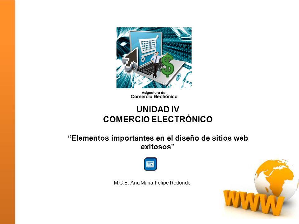 UNIDAD IV COMERCIO ELECTRÓNICO Elementos importantes en el diseño de sitios web exitosos M.C.E. Ana María Felipe Redondo