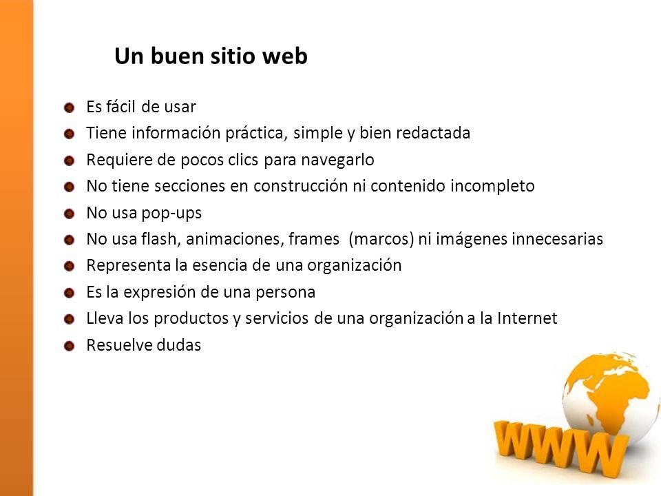 Un buen sitio web Es fácil de usar Tiene información práctica, simple y bien redactada Requiere de pocos clics para navegarlo No tiene secciones en co