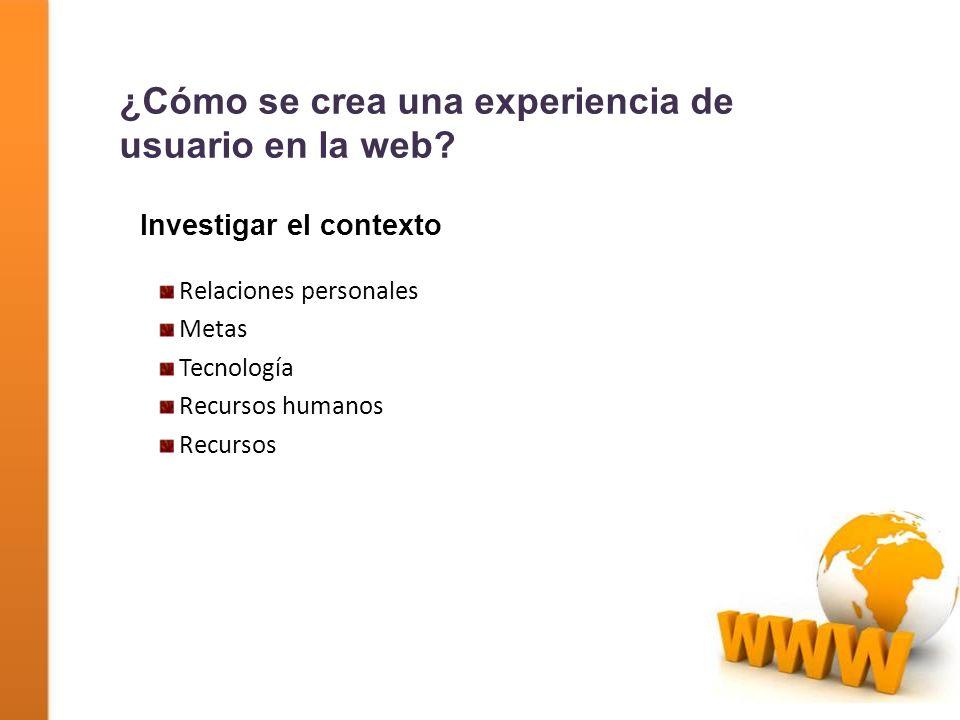 Investigar el contexto Relaciones personales Metas Tecnología Recursos humanos Recursos ¿Cómo se crea una experiencia de usuario en la web?