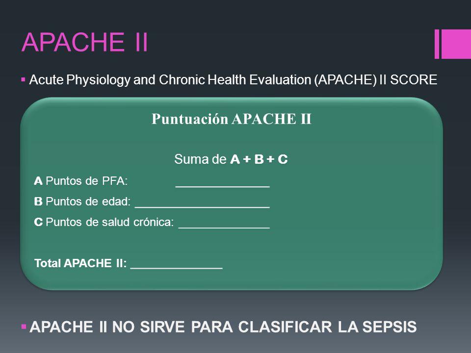 APACHE II Acute Physiology and Chronic Health Evaluation (APACHE) II SCORE APACHE II NO SIRVE PARA CLASIFICAR LA SEPSIS Puntuación APACHE II Suma de A