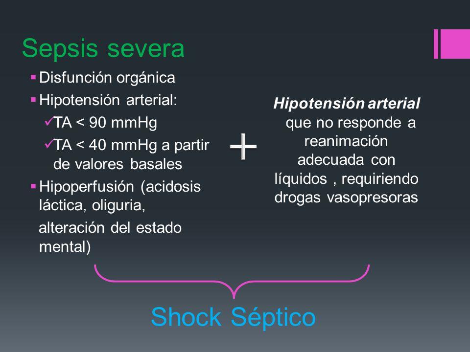 Disfunción orgánica Hipotensión arterial: TA < 90 mmHg TA < 40 mmHg a partir de valores basales Hipoperfusión (acidosis láctica, oliguria, alteración