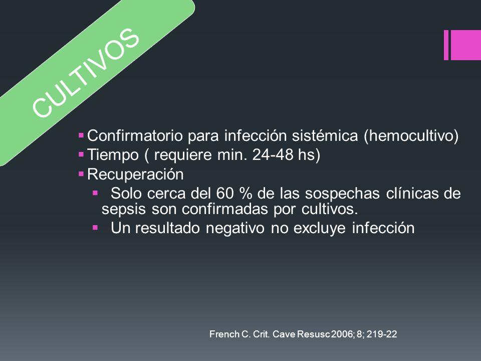 Confirmatorio para infección sistémica (hemocultivo) Tiempo ( requiere min. 24-48 hs) Recuperación Solo cerca del 60 % de las sospechas clínicas de se