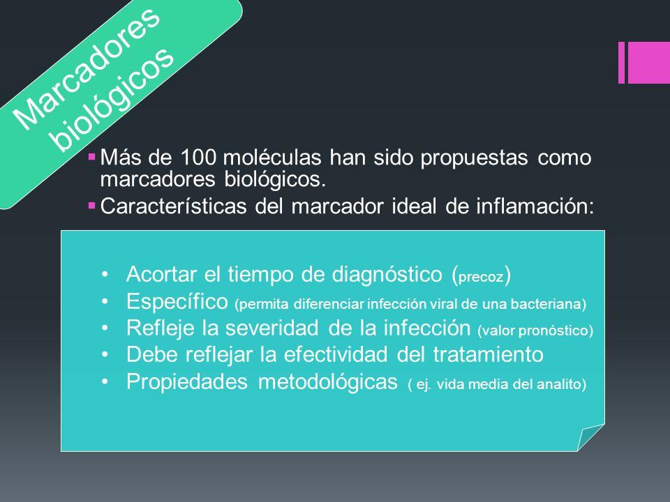 Más de 100 moléculas han sido propuestas como marcadores biológicos. Características del marcador ideal de inflamación: Marcadores biológicos Acortar