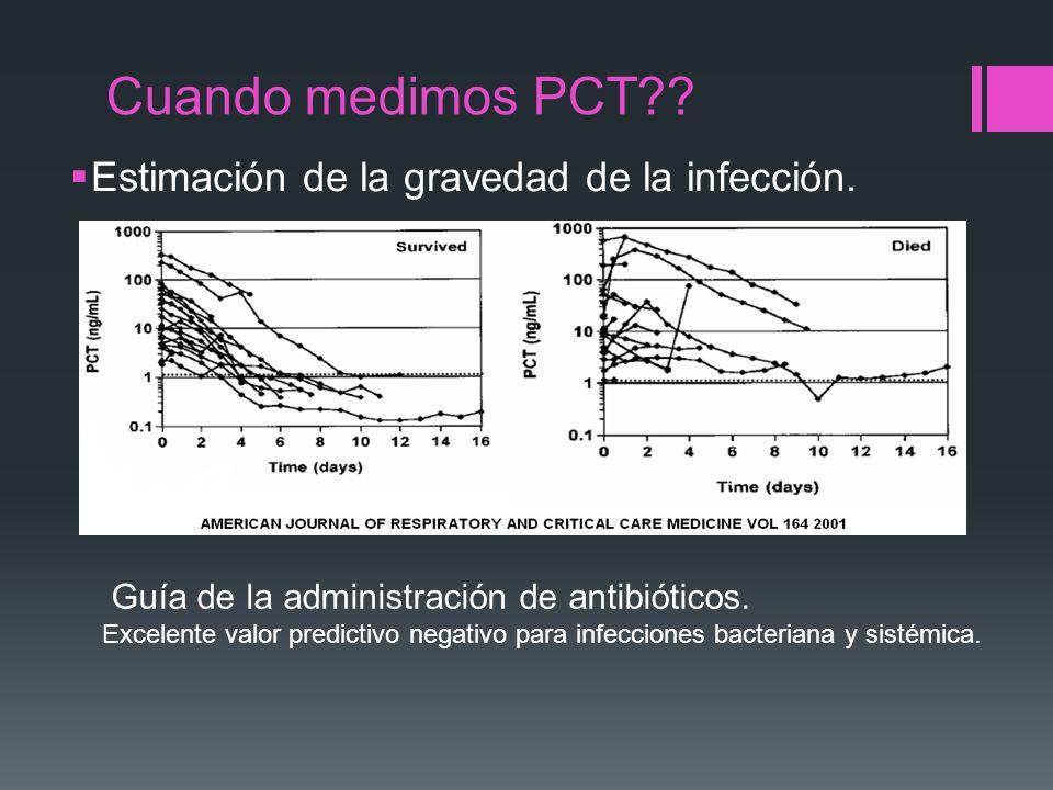 Cuando medimos PCT?? Estimación de la gravedad de la infección. Guía de la administración de antibióticos. Excelente valor predictivo negativo para in