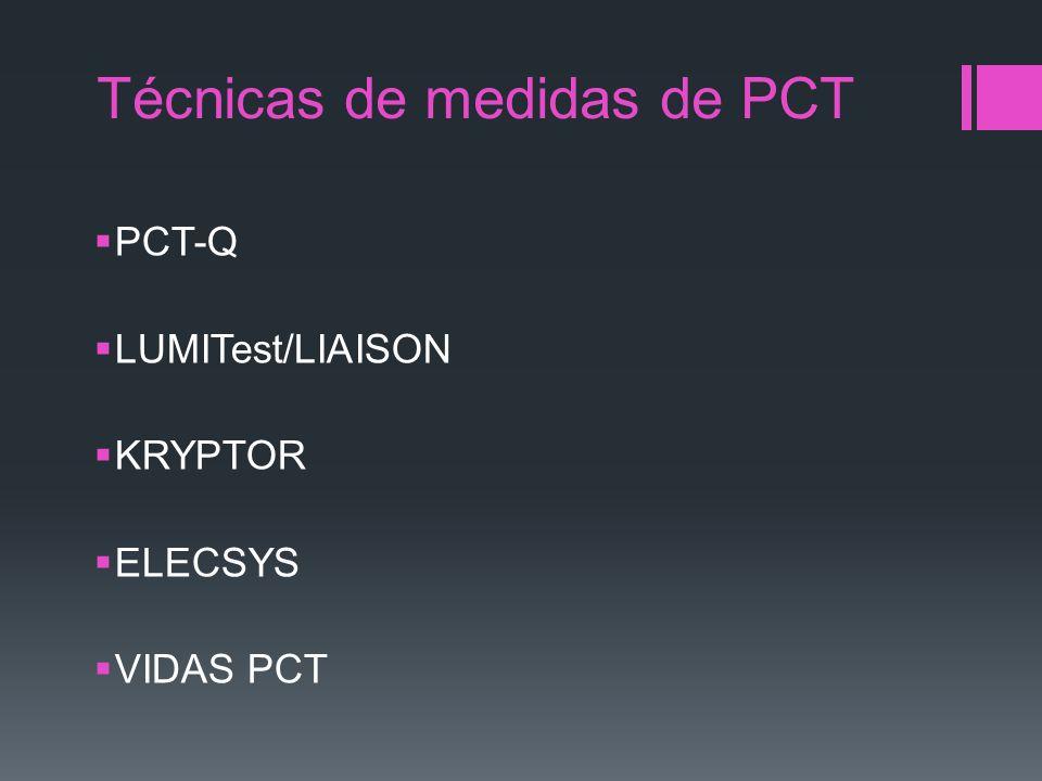 Técnicas de medidas de PCT PCT-Q LUMITest/LIAISON KRYPTOR ELECSYS VIDAS PCT