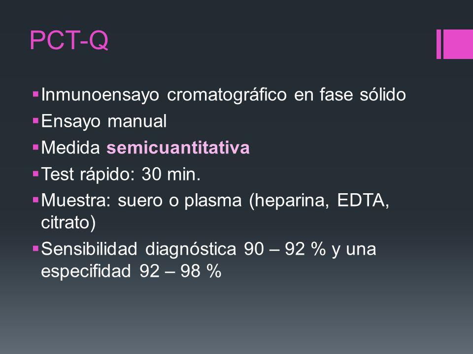 PCT-Q Inmunoensayo cromatográfico en fase sólido Ensayo manual Medida semicuantitativa Test rápido: 30 min. Muestra: suero o plasma (heparina, EDTA, c
