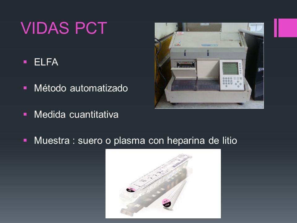 VIDAS PCT ELFA Método automatizado Medida cuantitativa Muestra : suero o plasma con heparina de litio