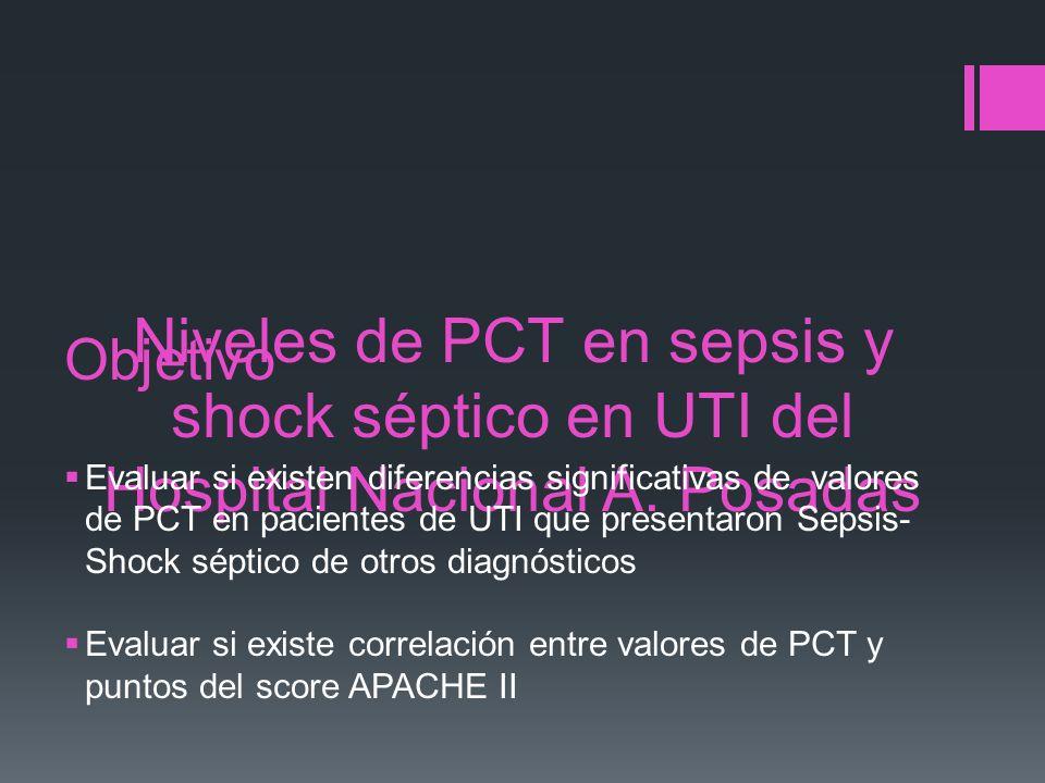 Niveles de PCT en sepsis y shock séptico en UTI del Hospital Nacional A. Posadas Objetivo Evaluar si existen diferencias significativas de valores de