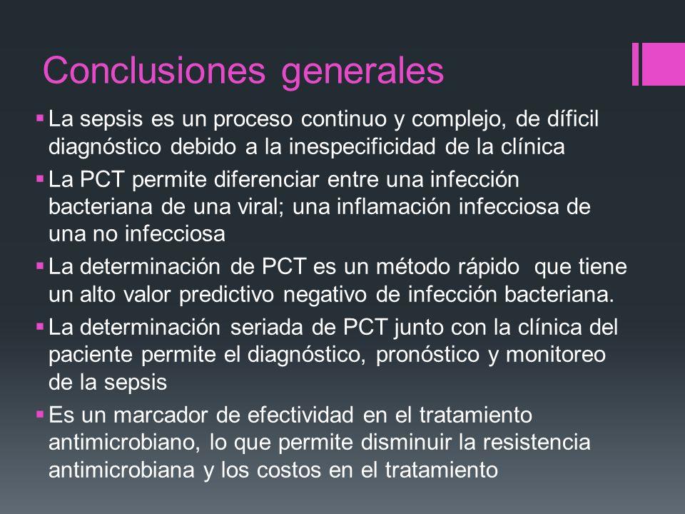 Conclusiones generales La sepsis es un proceso continuo y complejo, de díficil diagnóstico debido a la inespecificidad de la clínica La PCT permite di