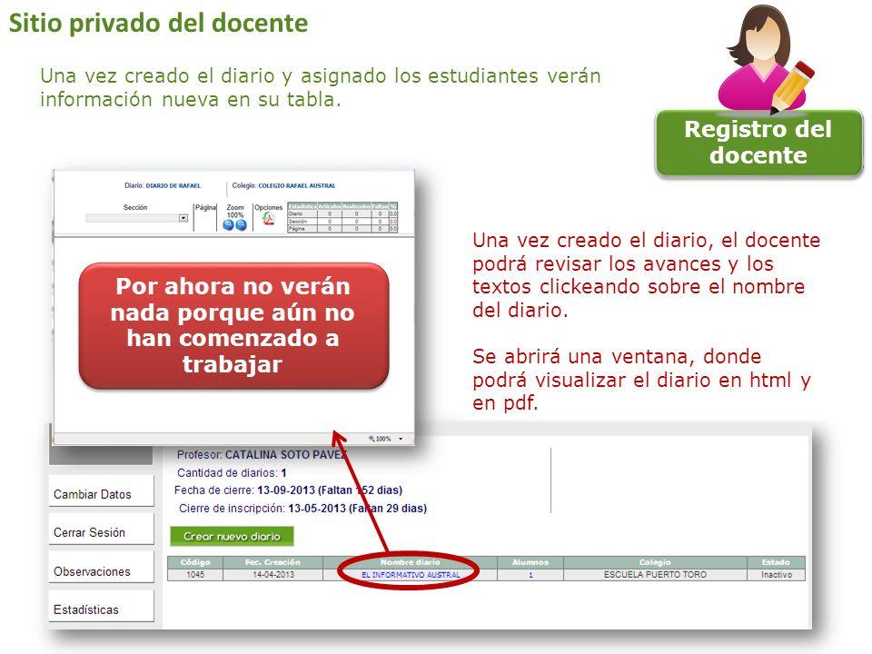 Registro del docente Una vez creado el diario, el docente podrá revisar los avances y los textos clickeando sobre el nombre del diario. Se abrirá una
