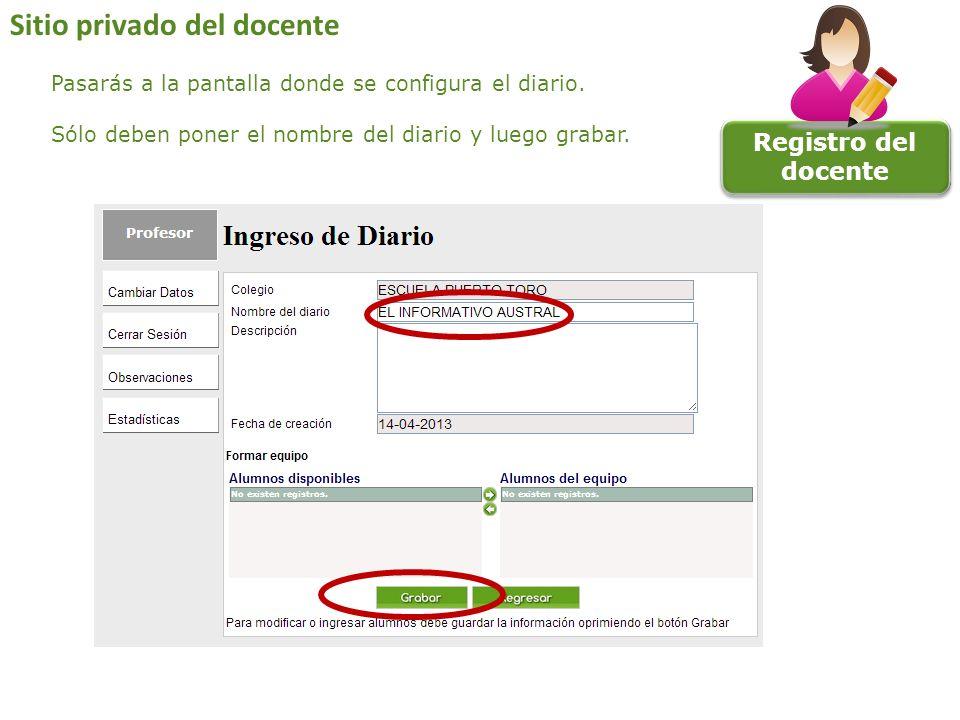 Registro del docente Sitio privado del docente Pasarás a la pantalla donde se configura el diario. Sólo deben poner el nombre del diario y luego graba