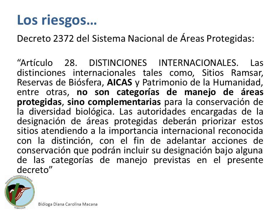 Los riesgos… Decreto 2372 del Sistema Nacional de Áreas Protegidas: Artículo 28. DISTINCIONES INTERNACIONALES. Las distinciones internacionales tales