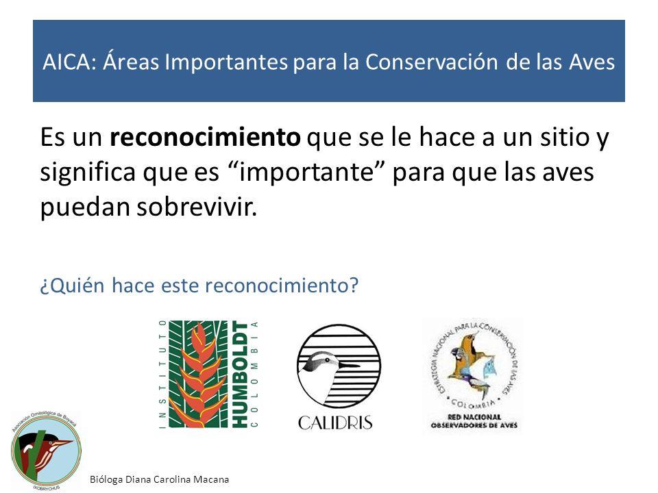 AICA: Áreas Importantes para la Conservación de las Aves Es un reconocimiento que se le hace a un sitio y significa que es importante para que las ave