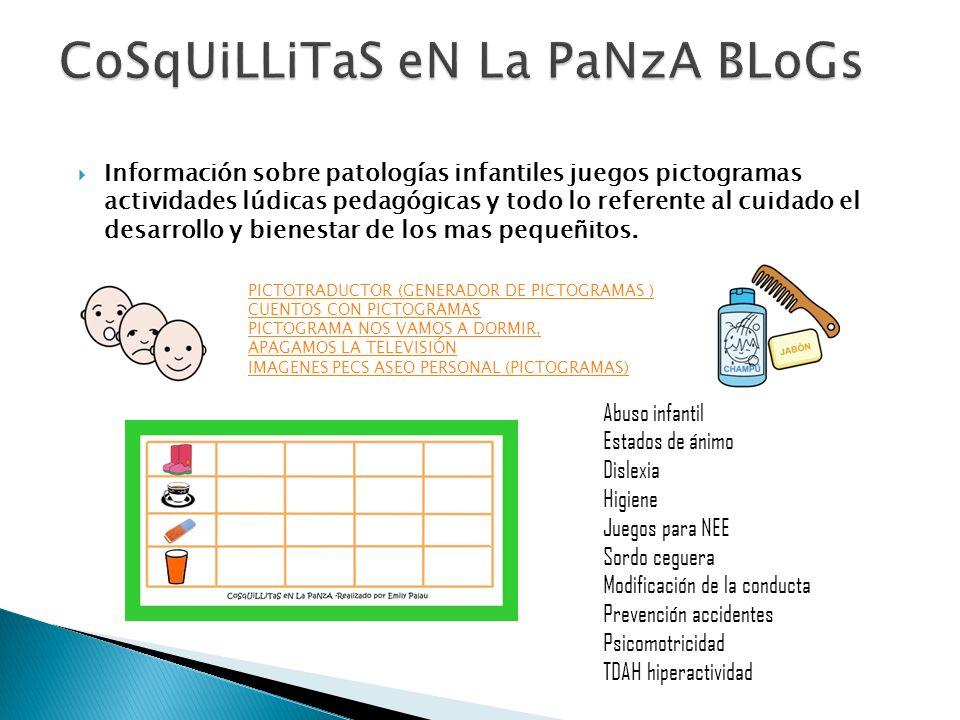 Información sobre patologías infantiles juegos pictogramas actividades lúdicas pedagógicas y todo lo referente al cuidado el desarrollo y bienestar de