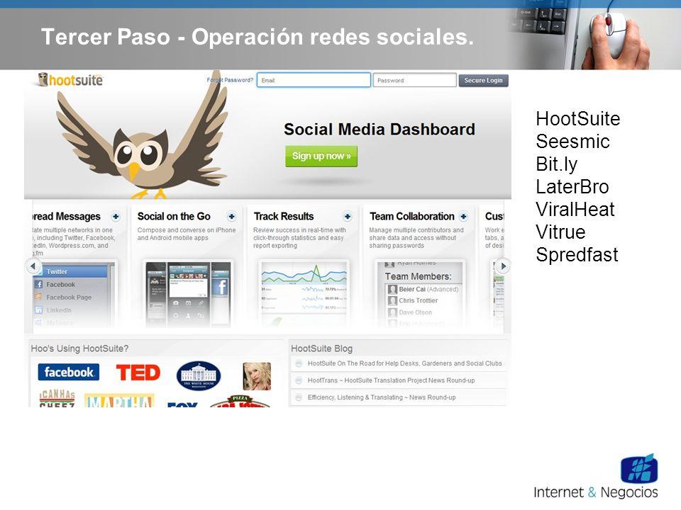 HootSuite Seesmic Bit.ly LaterBro ViralHeat Vitrue Spredfast Tercer Paso - Operación redes sociales.