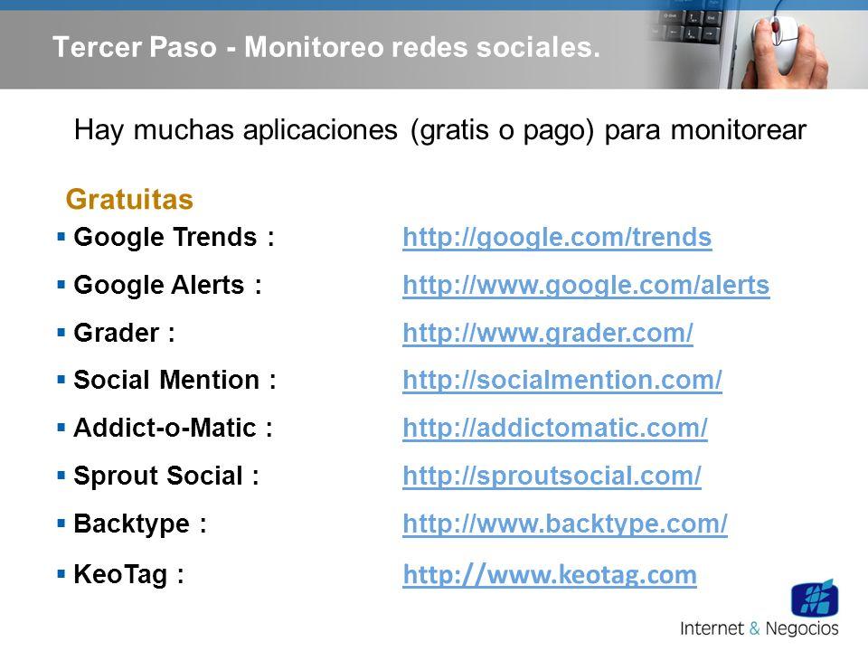 Hay muchas aplicaciones (gratis o pago) para monitorear Google Trends : http://google.com/trendshttp://google.com/trends Google Alerts : http://www.go