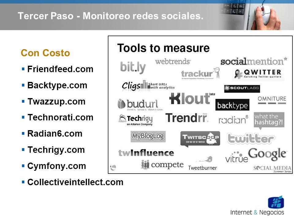 Friendfeed.com Backtype.com Twazzup.com Technorati.com Radian6.com Techrigy.com Cymfony.com Collectiveintellect.com Con Costo Tercer Paso - Monitoreo