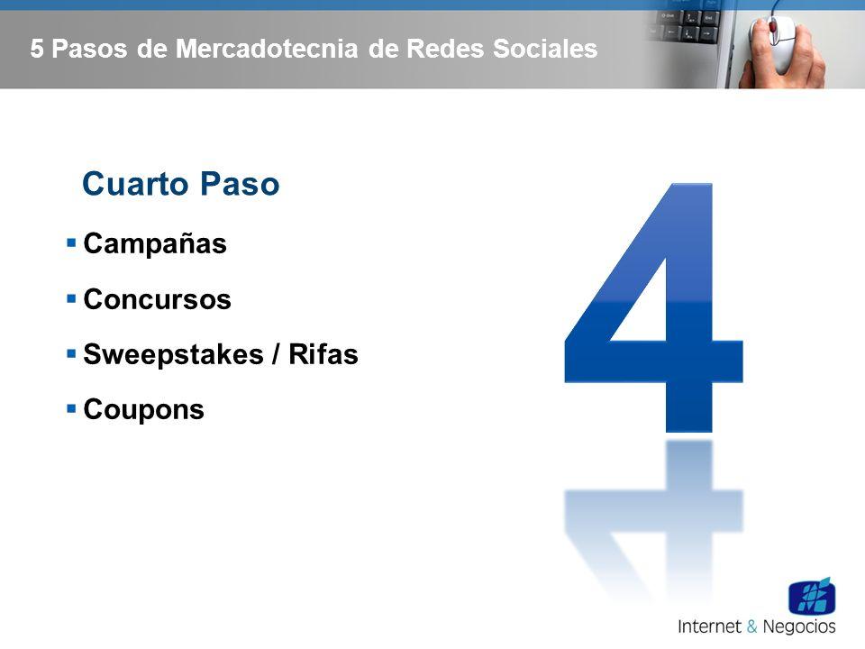 5 Pasos de Mercadotecnia de Redes Sociales Campañas Concursos Sweepstakes / Rifas Coupons Cuarto Paso