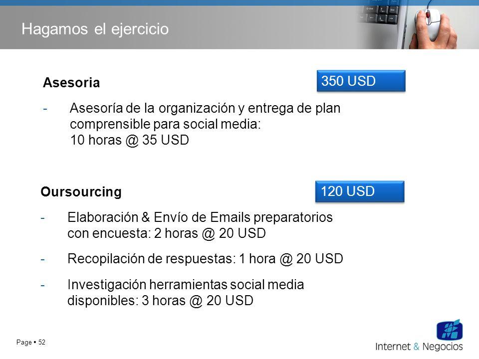 Page 52 Hagamos el ejercicio Oursourcing -Elaboración & Envío de Emails preparatorios con encuesta: 2 horas @ 20 USD -Recopilación de respuestas: 1 ho