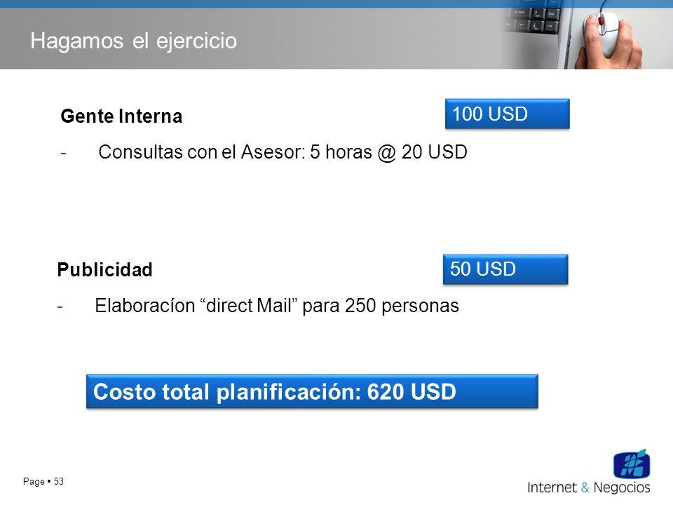 Page 53 Hagamos el ejercicio Publicidad -Elaboracíon direct Mail para 250 personas 50 USD Gente Interna -Consultas con el Asesor: 5 horas @ 20 USD 100