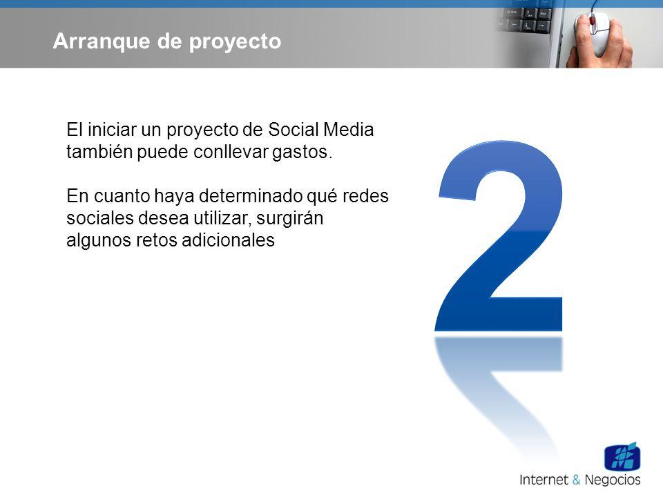 Arranque de proyecto El iniciar un proyecto de Social Media también puede conllevar gastos. En cuanto haya determinado qué redes sociales desea utiliz