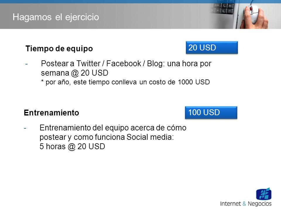 Hagamos el ejercicio Entrenamiento -Entrenamiento del equipo acerca de cómo postear y como funciona Social media: 5 horas @ 20 USD 100 USD Tiempo de e