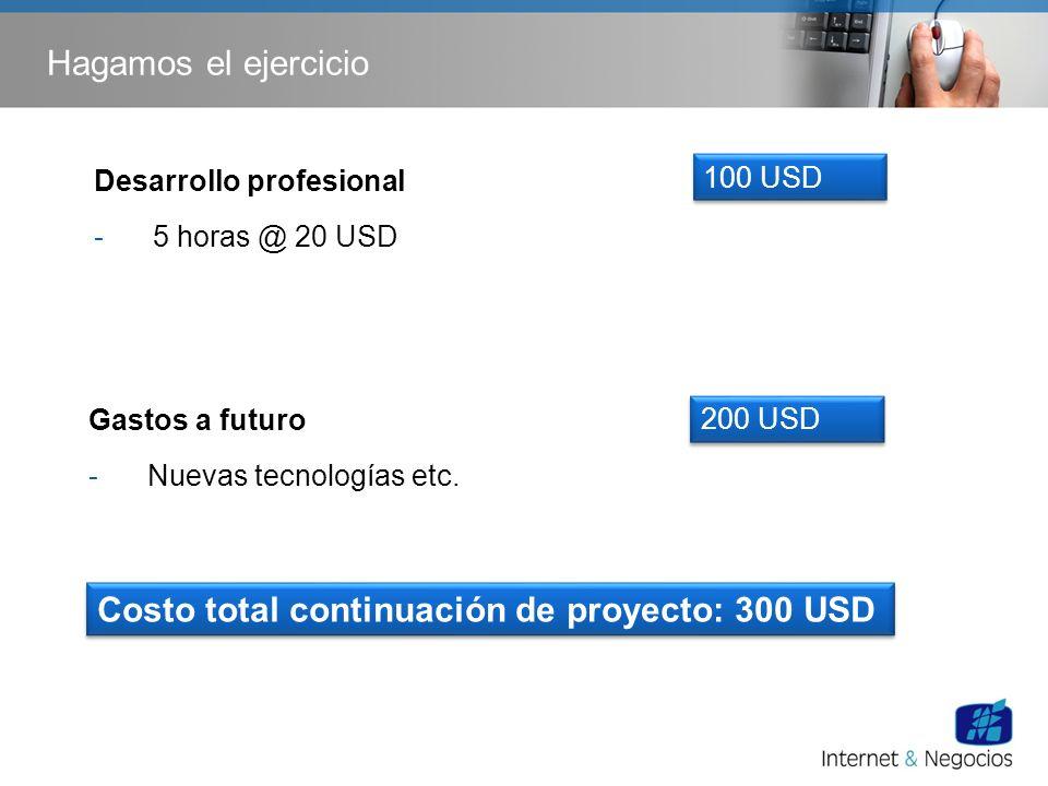 Hagamos el ejercicio Gastos a futuro -Nuevas tecnologías etc. 200 USD Desarrollo profesional -5 horas @ 20 USD 100 USD Costo total continuación de pro