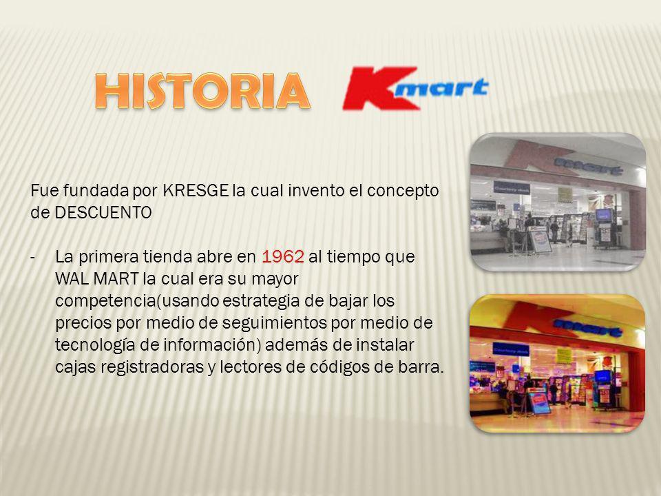 Fue fundada por KRESGE la cual invento el concepto de DESCUENTO -La primera tienda abre en 1962 al tiempo que WAL MART la cual era su mayor competenci