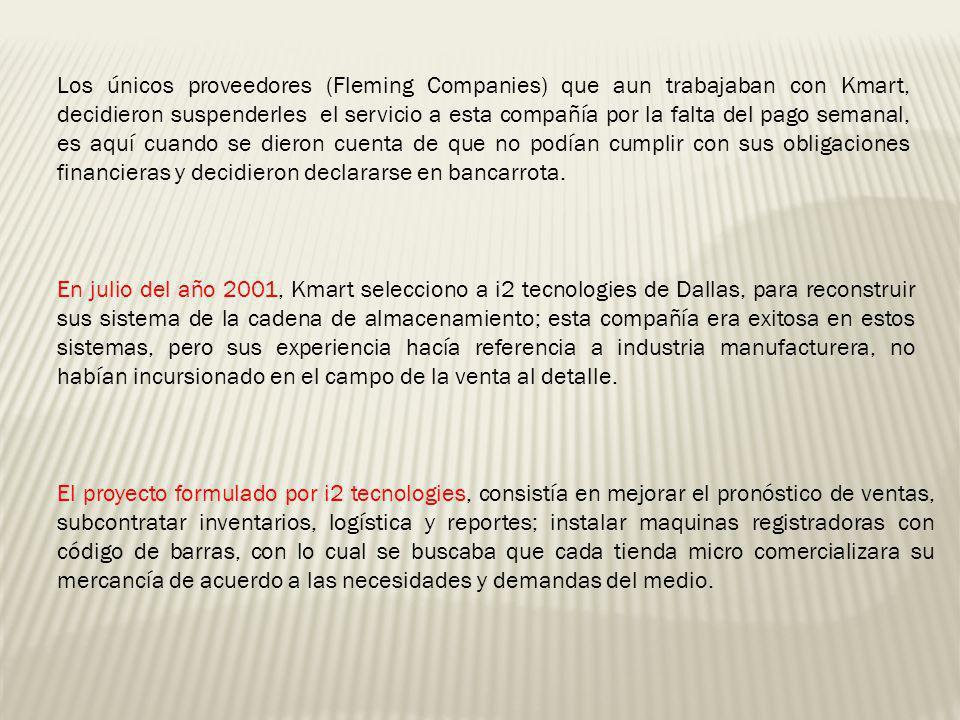 Los únicos proveedores (Fleming Companies) que aun trabajaban con Kmart, decidieron suspenderles el servicio a esta compañía por la falta del pago sem