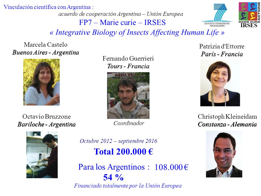 FP7 – Marie curie – IRSES « Integrative Biology of Insects Affecting Human Life » Marcela Castelo Buenos Aires - Argentina Christoph Kleineidam Consta