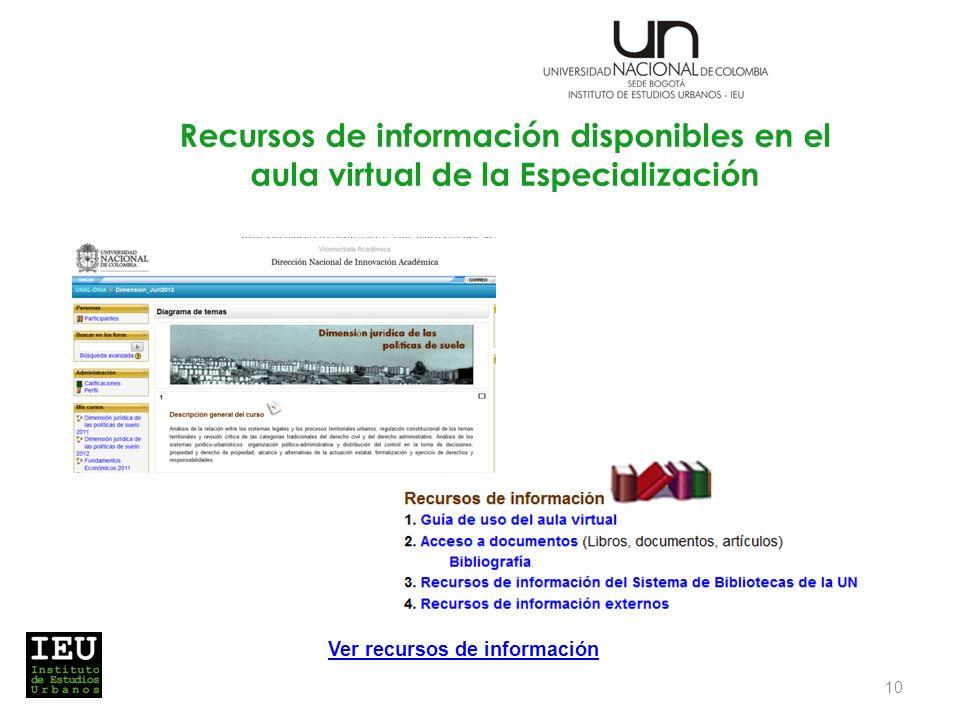 Recursos de información disponibles en el aula virtual de la Especialización 10 Ver recursos de información