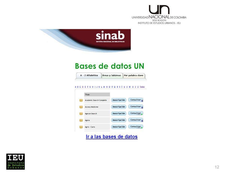 Bases de datos UN 12 Ir a las bases de datos