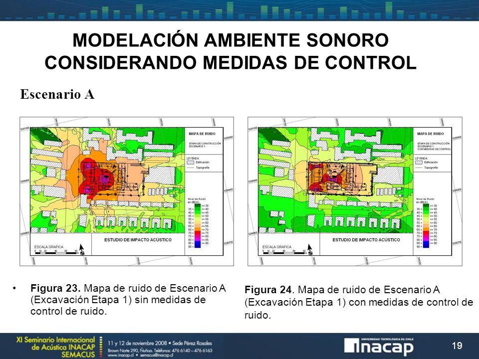 19 MODELACIÓN AMBIENTE SONORO CONSIDERANDO MEDIDAS DE CONTROL Escenario A Figura 23. Mapa de ruido de Escenario A (Excavación Etapa 1) sin medidas de