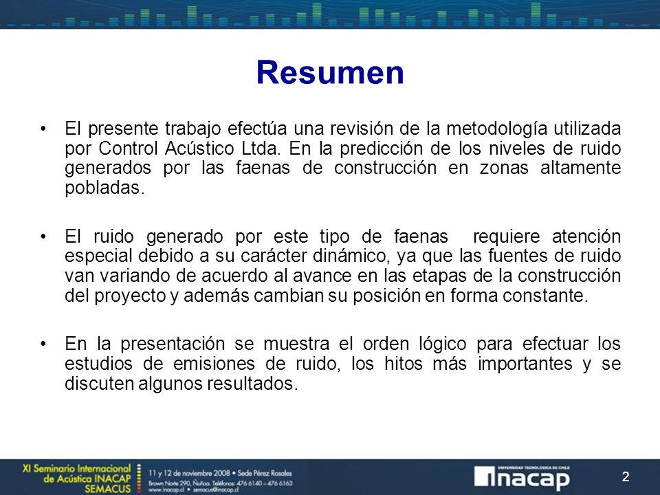 Resumen El presente trabajo efectúa una revisión de la metodología utilizada por Control Acústico Ltda. En la predicción de los niveles de ruido gener