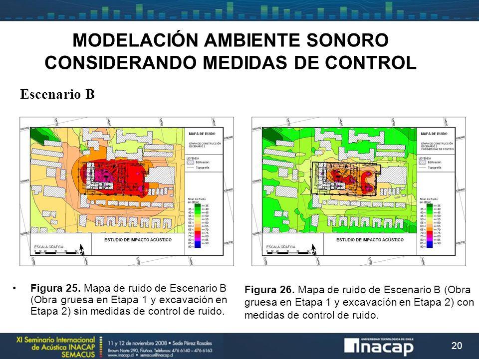 20 MODELACIÓN AMBIENTE SONORO CONSIDERANDO MEDIDAS DE CONTROL Escenario B Figura 25. Mapa de ruido de Escenario B (Obra gruesa en Etapa 1 y excavación
