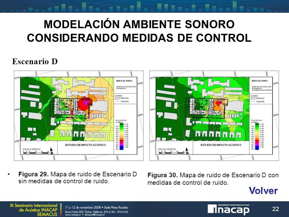 22 MODELACIÓN AMBIENTE SONORO CONSIDERANDO MEDIDAS DE CONTROL Escenario D Figura 29. Mapa de ruido de Escenario D sin medidas de control de ruido. Fig