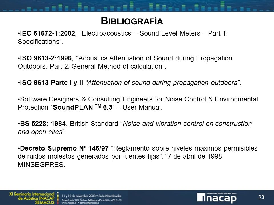 23 IEC 61672-1:2002, Electroacoustics – Sound Level Meters – Part 1: Specifications. ISO 9613-2:1996, Acoustics Attenuation of Sound during Propagatio