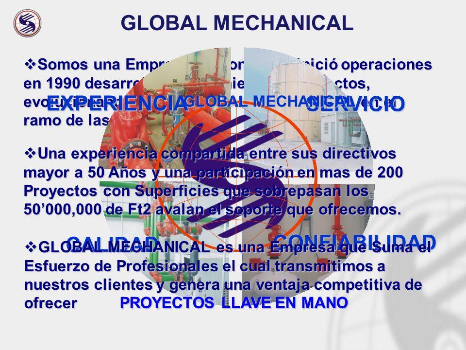 Somos una Empresa Nacional que inició operaciones en 1990 desarrollando Ingeniería de Proyectos, evolucionando como GLOBAL MECHANICAL en el ramo de la