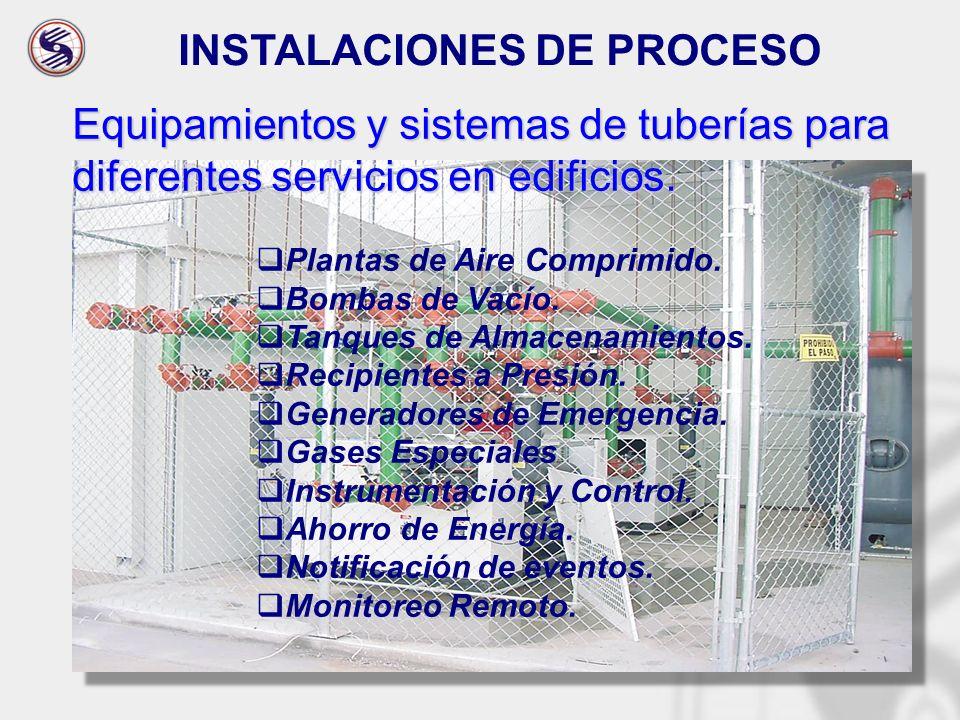 INSTALACIONES DE PROCESO Equipamientos y sistemas de tuberías para diferentes servicios en edificios. Plantas de Aire Comprimido. Bombas de Vacío. Tan